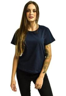 Camiseta Rich Baby Look Básica Lisa Feminina - Feminino-Azul Escuro