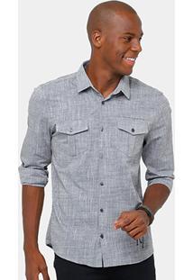 Camisa Social Calvin Klein Mesclada Masculina - Masculino