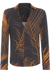 Camisa Feminina Palm Leaf Old - Preto