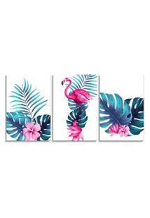 Quadro Oppen House 60X120Cm Folhagem Com Flamingo Canvas Decoraçáo