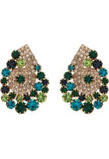 Brinco Gota Folheado A Ouro 18K Com Zircônias Tudo Jóias Com Pedras Cristal Multi Tons De Verde