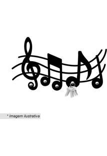 Porta Chaves Notas Musicais- Preto- 16X30Cm- Wevwevans