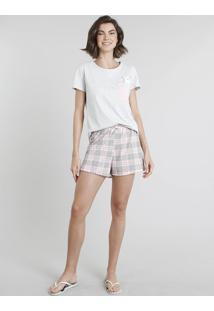 Pijama Feminino Monstrinho Com Bolso E Pompom Manga Curta Cinza Mescla Claro