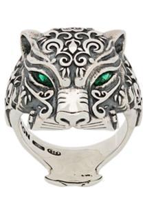 Nove25 Anel 'Maya Panther' De Prata - Prateado