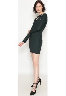 Vestido Com Recortes - Verde- Operateoperate