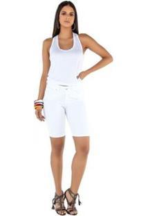 Bermuda Latifundio Tradicional Knicker Feminina - Feminino-Branco