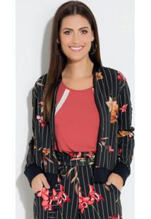 Jaqueta (Listrada Floral) Com Recorte Em Tela