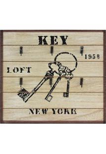 Porta Chaves Kasa Ideia Key Rústico Marrom