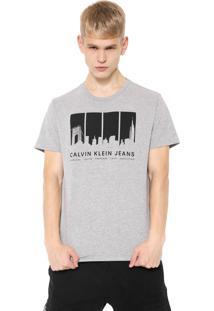 Camiseta Calvin Klein Jeans Skyline Stripes Cinza
