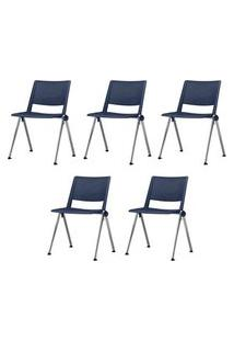 Kit 5 Cadeiras Up Assento Azul Base Fixa Cromada - 57803 Azul
