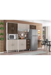 Cozinha Compacta Com Balcão Franciele Branco/Rovere/Amêndoa - Poliman