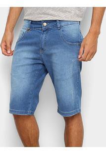 Bermuda Jeans Rock & Soda Estonada Cintura Média Masculina - Masculino-Azul