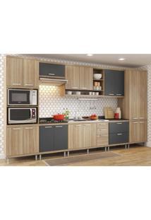 Cozinha Completa Multimóveis Com 8 Peças Sicília 5832 Argila/Grafite