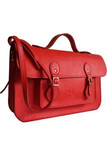 Bolsa Line Store Leather Satchel Média Couro Vermelho.