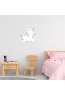 Escultura De Parede Em Mdf Unicórnio Infantil Branco - Médio