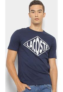 Camiseta Lacoste Live Logo Masculina - Masculino-Marinho