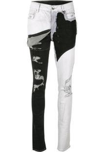 Rick Owens Drkshdw Calça Jeans Skinny Bicolor Com Destroyed - Preto