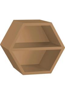 Nicho Hexagonal Favo Ii Com Prateleira Marrom Médio