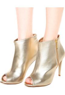 Open Boot Dafiti Shoes Metalizada Dourada