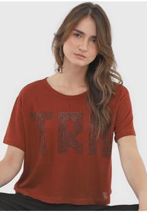 Camiseta Triton Tricot Aplicações Laranja