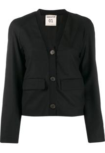 Semicouture Cardigan Color Block - Preto