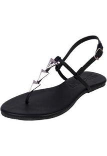 Sandália Rasteira Mercedita Shoes Flat Pirâmide Feminina - Feminino-Preto