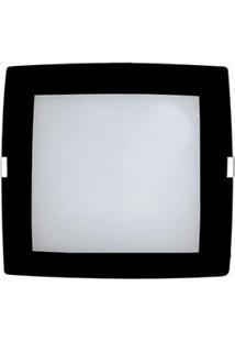 Plafon Sobrepor Attena Quadrado Pequeno 21Cm Em Vidro Com Borda – Preto