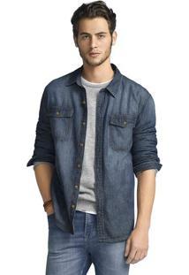 Camisa Jeans Masculina Slim Em Algodão Com Lavação