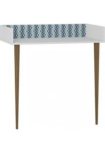 Escrivaninha De Parede Retrô Be Mobiliário Branco/Estampa Azul