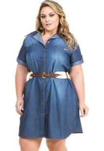 Vestido Confidencial Extra Plus Size Jeans Chemisie Com Bolso Feminino - Feminino-Azul Escuro