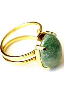 Anel Ajustável Pedra Quartzo Verde Twik