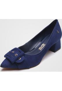 Scarpin Santa Lolla Fivela Azul-Marinho - Azul Marinho - Feminino - Tãªxtil - Dafiti