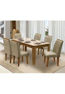 Mesa Para Sala De Jantar Saint Michel Com 6 Cadeiras – Dobuê Movelaria - Mell / Bege / Bege