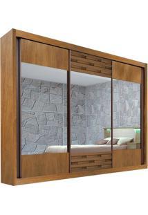 Guarda-Roupa Sensação Com Espelho - 3 Portas - 100% Mdf - Noce