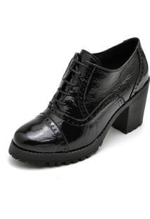Ankle Boot Em Couro Q&A Casual Verniz Preto - Tricae