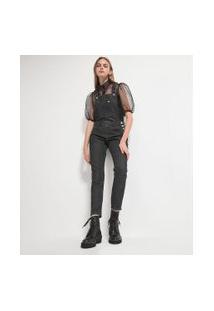 Macacão Longo Jeans Liso Com Bolso Frontal | Blue Steel | Preto | P
