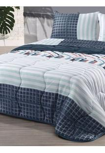 Edredom Casal Altenburg New Confort Azul/Branco