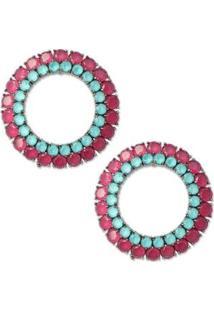 Brinco Círculo Cravejado Com Zircônias - Feminino-Verde Claro+Pink
