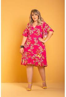 Vestido Lily Babado Floral Plus Size Domenica Solazzo