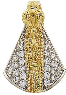 Pingente Narcizza Semijoias Nossa Senhora Aparecida Zircônia Cristal - Ouro