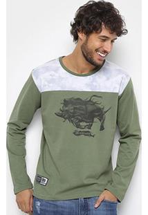 Camiseta Ecko Manga Longa Masculina - Masculino-Verde Militar