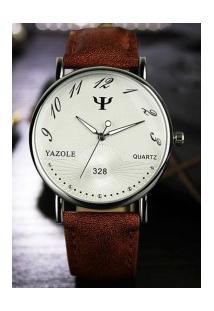 Relógio Feminino Yazole 328 - Marrom Com Branco