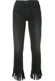 Frame Calça Jeans Com Franjas - Preto
