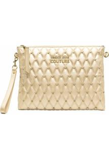 Versace Jeans Couture Clutch Matelassê Com Logo - Dourado