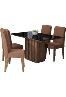 Conjunto De Mesa Para Sala De Jantar Ana Com 4 Cadeiras Tais-Cimol - Marrocos / Preto / Chocolate