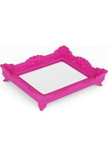 Bandeja Espelho Rococó Rosa P 6X29X24Cm Trevisan Concept