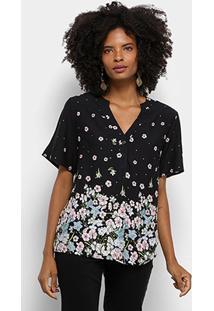 Camisa Manga Curta Mi Floral Gola V Botões Feminina - Feminino-Preto