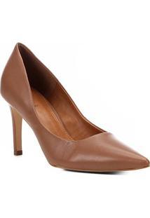 Scarpin Couro Shoestock Salto Alto Bico Fino - Feminino-Marrom