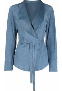 Suprema Belted Suede Jacket - Azul