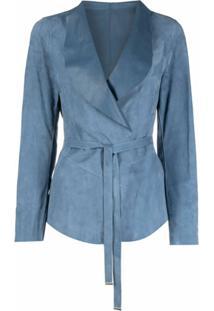 Suprema Jaqueta De Camurça - Azul